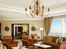 Sheraton Jumeirah Beach Resort Royal SuiteFeatures: The Royal Suite at Sheraton Jumeirah Beach Resort is the most luxurious room in the hotel, designed delicately with carved wooden furniture, leather upholstery with traditional touches of the region. All Royal Suites are one-bedroom with a private balcony and a terrace, offering a panaromic view of the Sea. As a Royal Suite guests enjoy bathrooms with jaccuzzi bath tub and walk-in shower. Access to club lounge and all lounge facilities are included.Price: From Dhs17,500 per night.Sheraton Jumeirah Beach Resort www.sheratonjumeirahbeach.com (04 399 5533). Click here to view Fairmont Dubai Imperial Suite