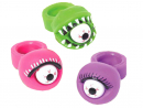 Dhs8 eachSqueeze pop eye ringsSold individually, these stretchy rings have bloodshot eyes surrounded by toothy mouths or feathery lids. Squeeze them and the eyeball will come shooting out.Mypartycentre.com