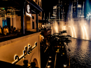 Karma KaféThis cool, dimly-lit spot has long been popular with tourists and residents alike. Overlooking The Dubai Fountain and with stellar views of the Burj Khalifa, the setting of this dark, sleek venue is enviable. The terrace is where it's at, so take a seat here in cooler months and enjoy the menu of pan-Asian bites. There's also a daily happy hour from 3pm until 7pm with half price select grape and hops, which is worth taking advantage of, too.Open Sun-Thu 3pm-2am, Fri-Sat noon-2am. Souk Al Bahar, Downtown Dubai (04 423 0909).