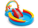 Intex Rainbow Ring Play Center Dhs169.17 Intex's rainbow ring play centre includes a slippery water slide, raging ring toss game and colourful inflatable balls game that will keep your kids entertained for hours on end.www.sprii.ae.