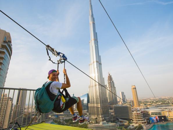 XLine zipline in front of Burj Khalifa