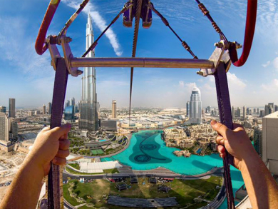 Sheikh Hamdan zip line over Dubai Fountains for X Dubai - video