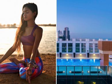 Free sunset rooftop yoga class in Dubai