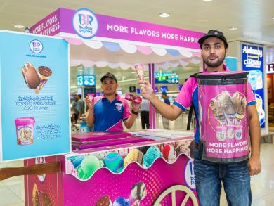 Baskin Robbins launch pop-up airport ice cream cart
