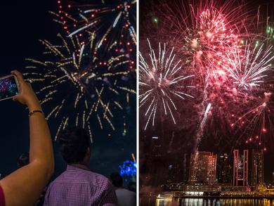 Three massive Saudi National Day fireworks shows in Dubai tonight
