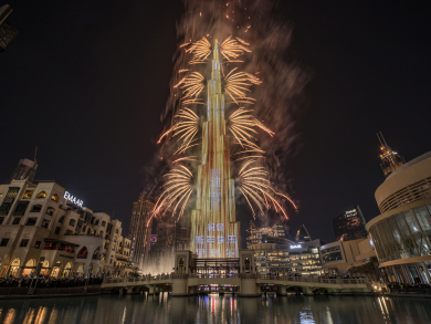 Dubai's Burj Khalifa's New Year's Eve fireworks in pictures