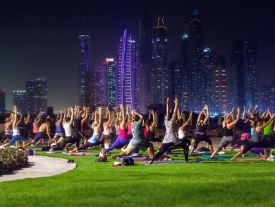 Do full moon yoga on the beach in Dubai this weekend