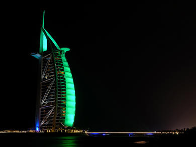 Ten UAE landmarks lit up green to celebrate St. Patrick's Day