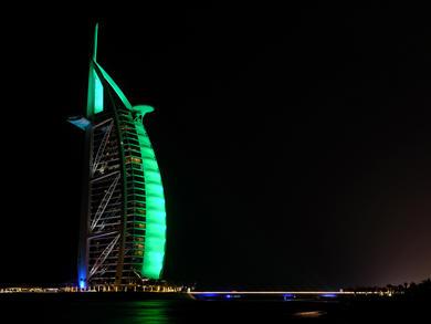 Ten UAE landmarks lit up green to celebrate St. Patrick's Day