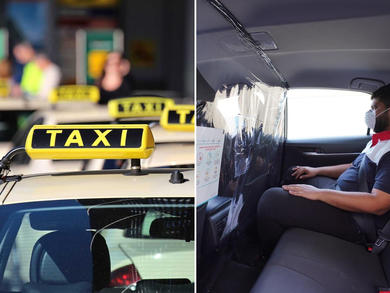 Dubai Taxis fitted with hygienic isolation dividers
