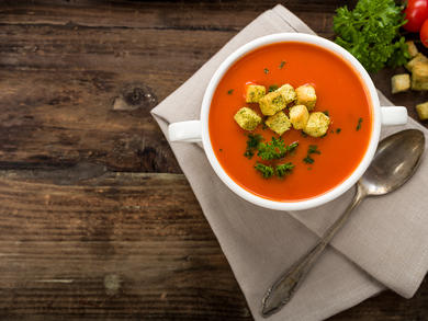 Recipe: Tomato soup with basil oil and croustades