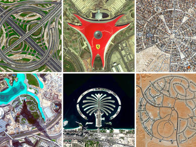 Amazing birds-eye views of Abu Dhabi and Dubai attractions and sights