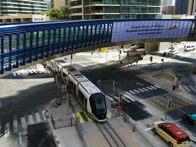 A brand-new four-way footbridge has opened in Dubai Marina